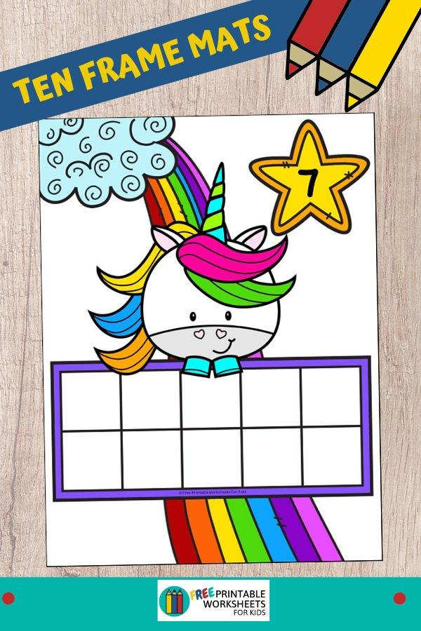 These unicorn ten frame mats make counting practice and one to one correspondence a little bit more magical and fun for preschool and kindergarten kids. Fun Counting Printables for Preschool and Kindergarten | Unicorn Themed Games | Hands On Counting Homeschool Activities | Kids Classroom Center Ideas and Worksheets #FreePrintableWorksheetsForKids #Unicorn #counting #tenframes