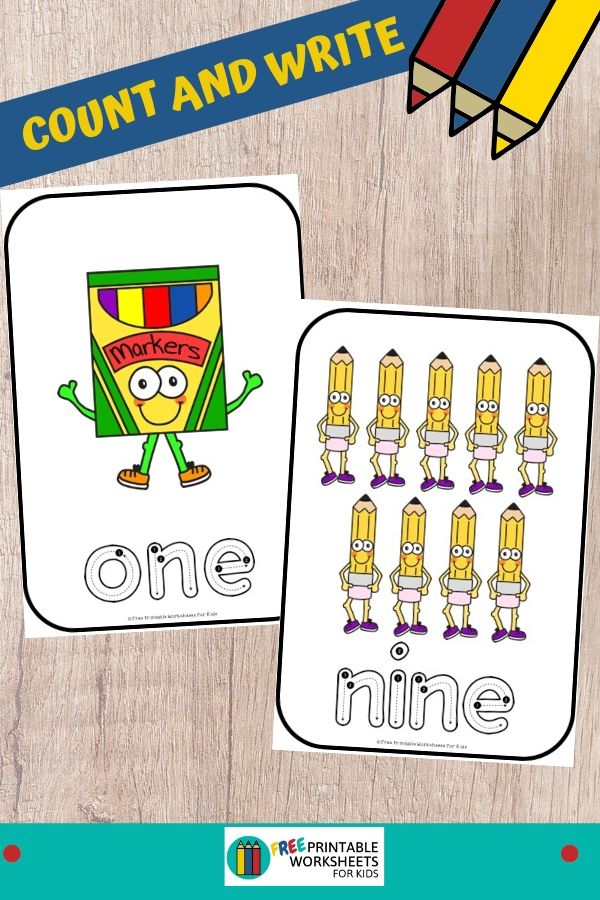Welcome your preschool and kindergarten kids back to school with these cute count and write cards from numbers 1 to 10. Fun Counting Printables for Preschool and Kindergarten   Back To School Themed Games   Hands On Math Homeschool Activities   Kids Classroom Center Ideas and Worksheets #FreePrintableWorksheetsForKids #numberwords #counting #backtoschool