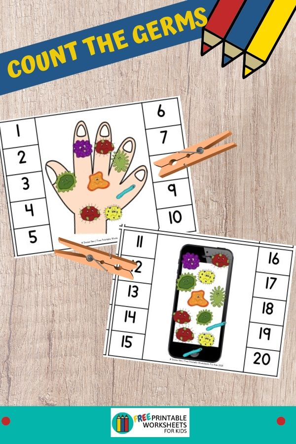 Make handwashing fun and top of mind for kids with this set of counting clip cards that includes pictures of hands and also everyday items. Fun Health Printables for Preschool and Kindergarten   Handwashing Themed Games   Hands On Math Homeschool Activities   Kids Classroom Center Ideas and Worksheets #FreePrintableWorksheetsForKids #Counting #Handwashing #Hygiene