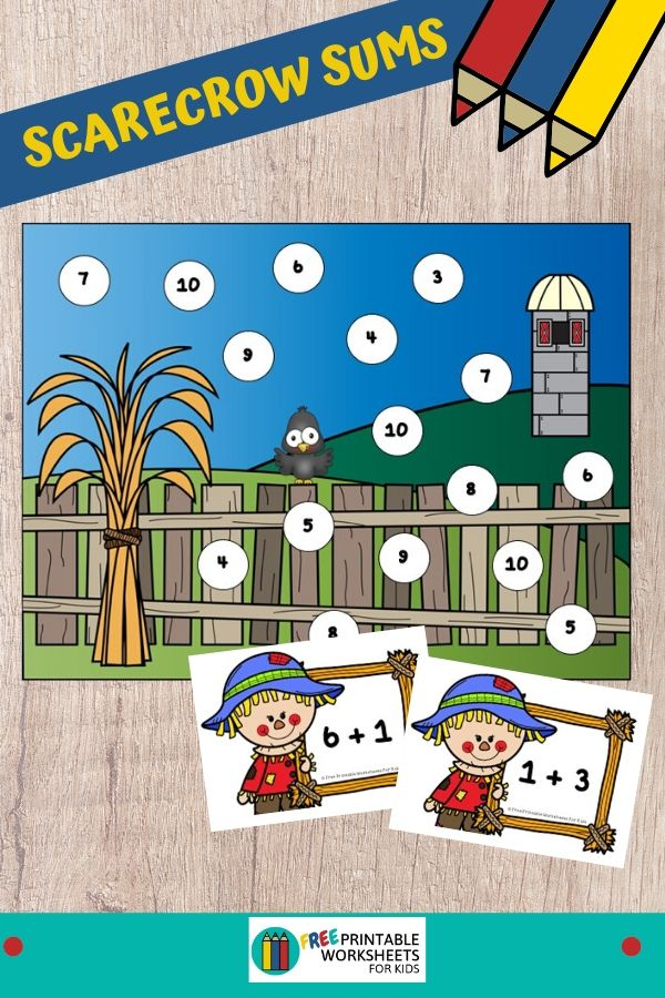 Kids will fall in love with this scarecrow-themed math activity that's perfect for autumn. Fun Scarecrow Printables for Preschool and Kindergarten   Autumn Themed Addition Games   Hands On Math Homeschool Activities   Kids Classroom Center Ideas and Worksheets #FreePrintableWorksheetsForKids #Scarecrow #Autumn #Fall #Math