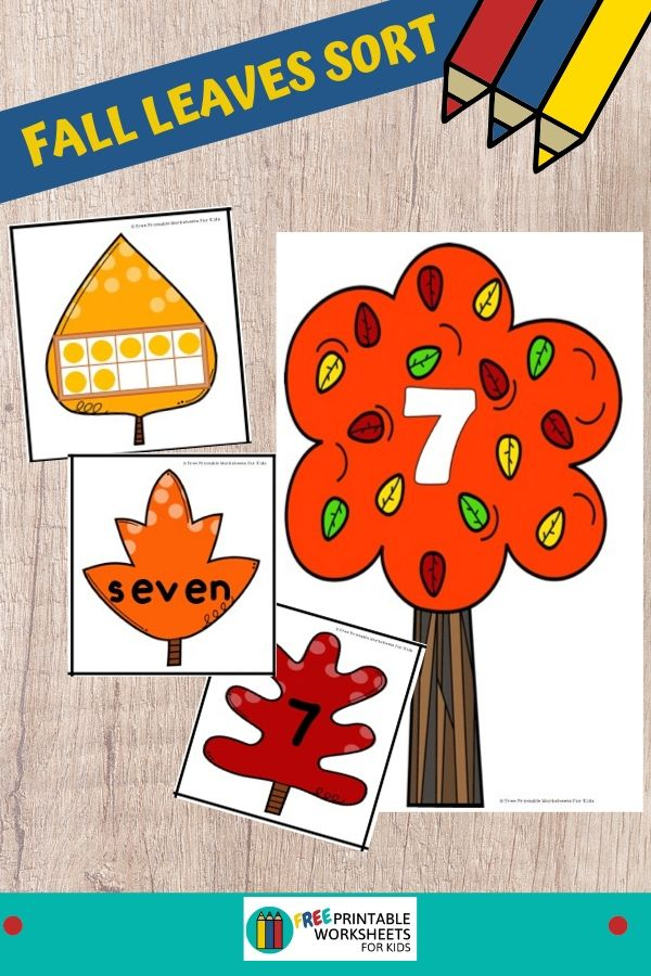 This fall-themed game will have kids sorting out labelled leaves from trees. Practice number recognition, number words and ten frames. Fun Fall Leaves Printables for Preschool and Kindergarten   Number Sorting Games   Hands On Math Homeschool Activities   Kids Classroom Center Ideas and Worksheets #FreePrintableWorksheetsForKids #numbers #sorting #fall