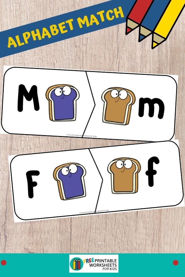 Adorable peanut butter and jelly sandwich 2-piece puzzles where kids will learn to match upper to lowercase letters. Fun Food Themed Printables for Preschool and Kindergarten | Alphabet and Literacy Games | Hands On Homeschool Alphabet Activities | Kids Classroom Center Ideas and Worksheets #FreePrintableWorksheetsForKids #food #lettercase #alphabet