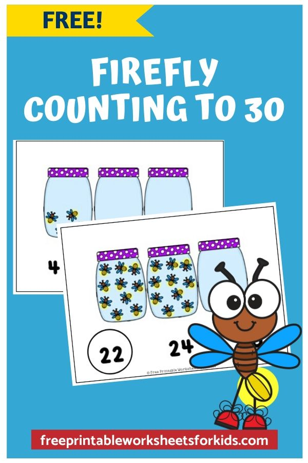 Firefly Counting | Free Printable Worksheets For Kids | Kids will love counting these fireflies! This math activity is perfect for preschool, kindergarten and homeschooling or for busy parents looking for something their little one can do independently. So easy to prep - just print and play!