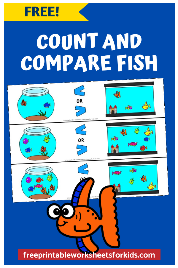 Count and Compare Fish | Free Printable Worksheets For Kids | In this fun game, kids will count and compare fish in a tank and fish in a bowl to see which has a bigger number and learn how to use the symbols greater than and lesser than correctly.