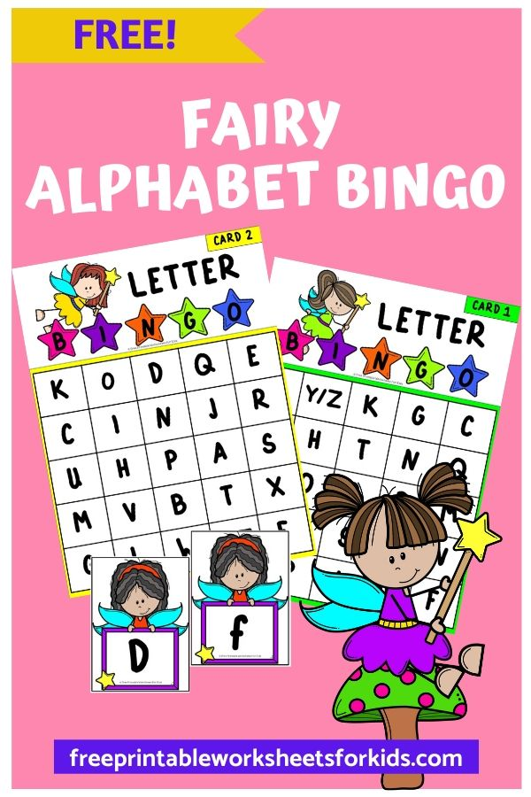 Fairy Alphabet Bingo | Free Printable Worksheets For Kids | Get ready for some fairy fun as kids fly through learning their letters in this themed bingo game. Preschoolers will love the cute fairies! This easy prep alphabet activity will make teaching letter recognition so fun and simple. Other Printable Alphabet Centers and Worksheets Valentine's Alphabet Clip Strips - Combine letter recognition with fine motor strengthening in this themed game.  Tommy Turkey Alphabet Pie - Pick a letter card and color it in this file folder game.  Penguin and Fish Letter Match - Help your little ones learn upper and lowercase letters.</p>  Fairy Alphabet Bingo Setup For this activity you will need: Paper Printer Any tokens you wish to use to cover the letters as they are called out Optional: laminator If you don't have the materials needed, don't sweat! You can get it delivered to your doorstep really quickly with Amazon Prime. You can get a 30-day free trial here.  Playing This Fun Fairy Game There are 4 different bingo cards included.You can choose the one you like or use all 4 if you're playing this in a small group setting. Print out the letter cards and cut into individual pieces. There are upper and lowercase letters included for you. Provide some tokens that the child can use to cover the letter as it's called. You can use pompoms, mini erasers, plastic circles, buttons - anything you like! Pick up one letter card at a time until someone places 5 tokens in a row.BINGO! You have a winner! Pair Up This Alphabet Activity Frilly Lily Post Office Activity - An adorable writing center and pretend play center all in 1. It comes complete with stamps.  Peppa Pig: The Tooth Fairy - Certainly the most famous fairy, this book about the tooth fairy is a good one to use in your fairy learning unit or for dental health week.  Holly's Learning Wand - This is based on Ben and Holly's Little Kingdom, which is another show your child may be familiar with. It teaches numbers, colors and fun facts.