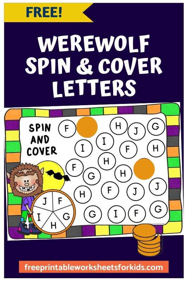 Werewolf Spin and Cover Letters | Free Printable Worksheets For Kids | Learning to recognize letters is made fun and easy with this spin and cover game. Kids will be howling like a werewolf with excitement as they race to find all the letters on their mat. This Halloween-themed center is perfect for preschool and kindergarten.