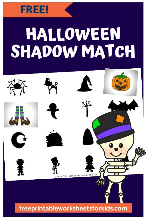 Halloween Shadow Match | Free Printable Worksheets For Kids | Preschoolers need visual discrimination and matching skills in order to differentiate between the letters and numbers and to be able to classify objects. This Halloween shadow matching game develops these early literacy and math skills. It's easy to prepare and makes a great quiet time activity.