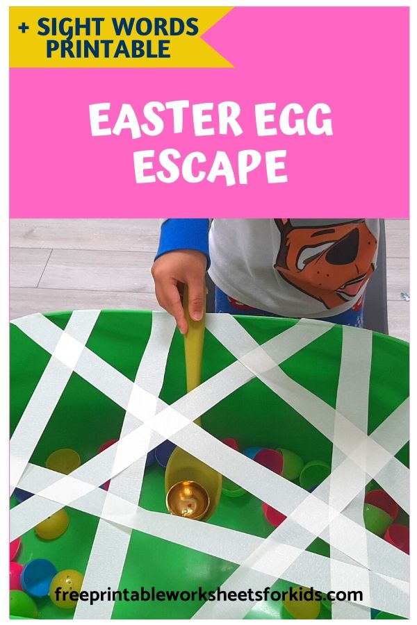 Easter Bunny Sight Words | Free Printable Worksheets For Kids | This is a fun way to learn sight words and work on fine motor development during Easter time. Kids will actively try to balance the egg on the spoon and fish it out of the 'jail'. For each egg that escapes, they need to read a sight word then the egg will be safe. Fun and learning all in one!