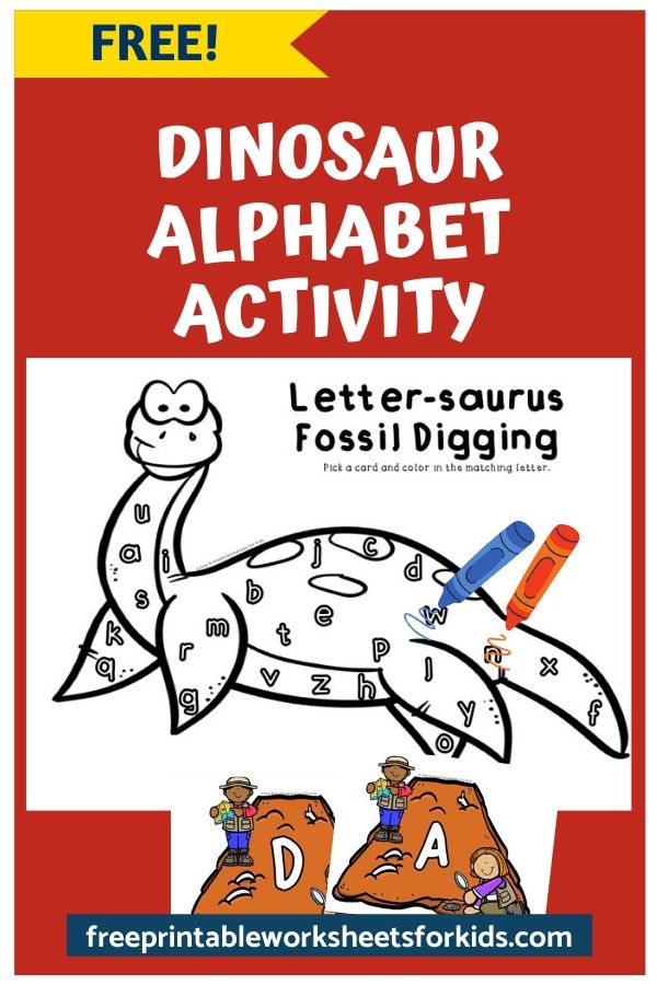 Letter-saurus Fossil Digging | Free Printable Worksheets For Kids | The letter-saurus will surely be your child's new favorite dinosaur! Preschoolers will love pretending to be a paleontologist so grab this free printable game and start working on letter recognition.