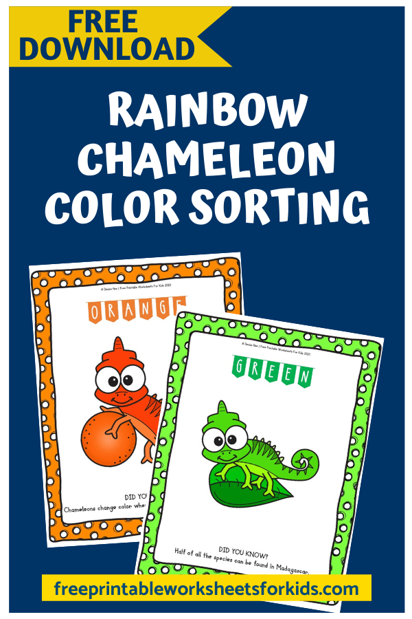 Rainbow Chameleon Color Sorting Activity | Free Printable Worksheets For Kids | These Rainbow Chameleon Color Sorting Mats combine color word recognition, early math skills, fine motor development and science all in one. April showers bring May flowers and lots of lovely rainbows so get those colorful pompoms out for some sorting fun!