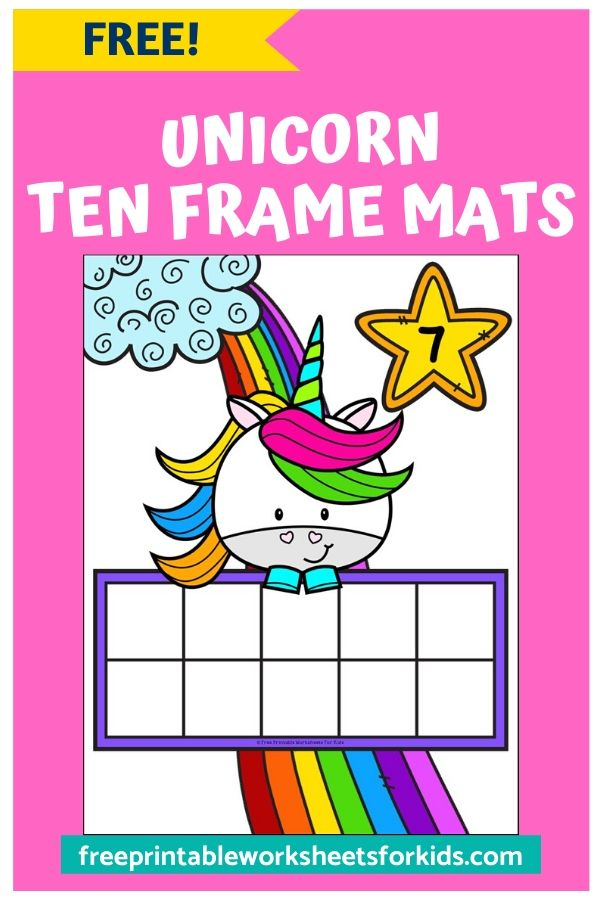 Unicorn Ten Frame Mats | Free Printable Worksheets For Kids | Make counting a little bit more magical with these Unicorn Ten Frame Mats. Kids will learn one to one correspondence and counting up to 10. Preschoolers and kindergarteners will love this fun math printable!