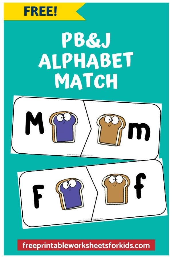 Peanut Butter and Jelly Alphabet Matching | Free Printable Worksheets For Kids | Kids will love this adorable peanut butter and jelly sandwich game where they will learn to match upper to lowercase letters. These 2-piece puzzles can be used as a center on their own but would also make a great sensory tub activity - if you dare to get your kids really messy!