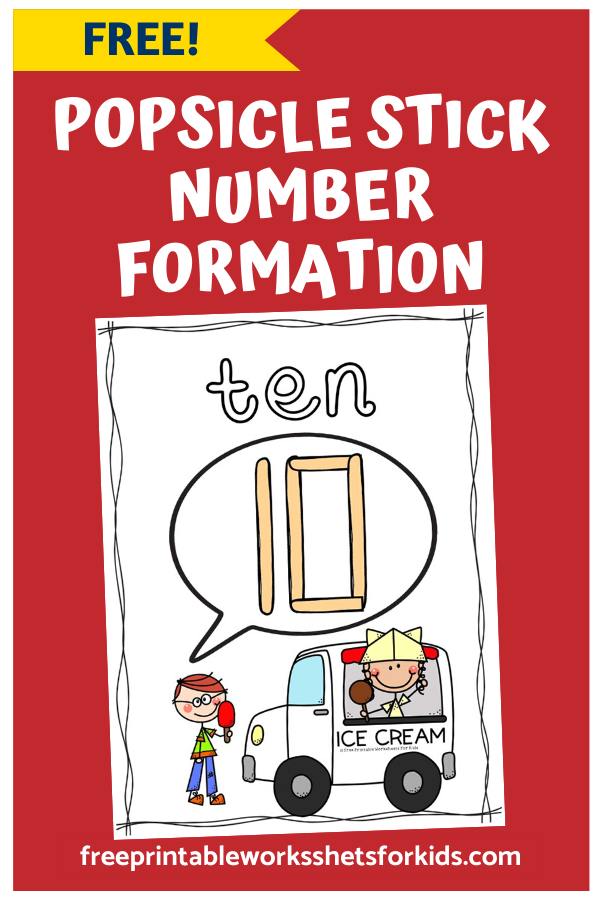 Popsicle Stick Number Formation Mats 1-10 | Free Printable Worksheets For Kids | These number formation mats are perfect for summer! Just grab some popsicle sticks and some craft velcro dots to get started.
