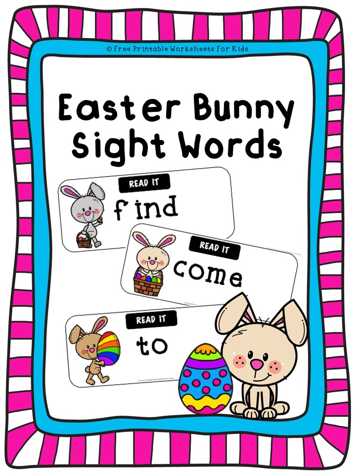 Fun Easter Printables for Preschool and Kindergarten | Active Sight Words Games | Hands On Literacy Homeschool Activities | Kids Classroom Center Ideas and Worksheets #FreePrintableWorksheetsForKids #easter #bunny #sightwords