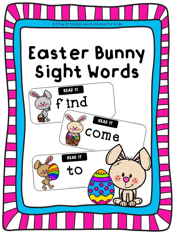 Fun Easter Printables for Preschool and Kindergarten | Active Sight Words Games | Hands On Literacy Homeschool Activities | Kids Classroom Center Ideas and Worksheets #FreePrintableWorksheetsForKids #easter #bunny #sightwords