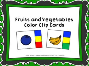 24 Fruit and Vegetable Color Matching Clipcards