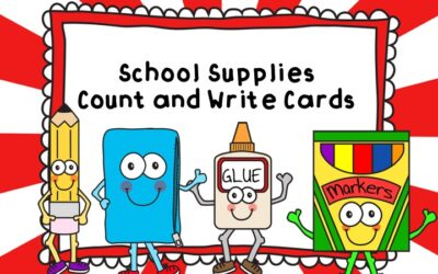 School Supplies Count and Write Cards