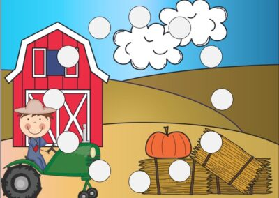 This farm-themed printable activity will help your child learn shapes and develop fine motor skills. It can be used with playdough, pom poms, dot markers etc. Fun Shape Printables for Preschool and Kindergarten | Farm Themed Games | Hands On Math Homeschool Activities | Kids Classroom Center Ideas and Worksheets #FreePrintableWorksheetsForKids #farm #shapes #finemotor #preschoolmath