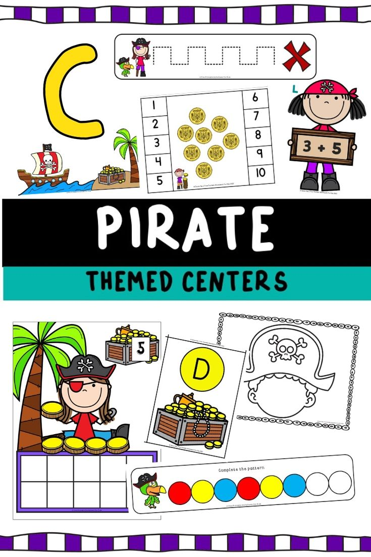 Pirate Themed Literacy and Math Centers | Free Printable Worksheets For Kids | This treasure-filled pack of pirate-themed activities will teach your preschooler and kindergarteners various early math and literacy skills. Count up the coins, trace lines to the X spot and get ready for some more fun games. Ahoy!