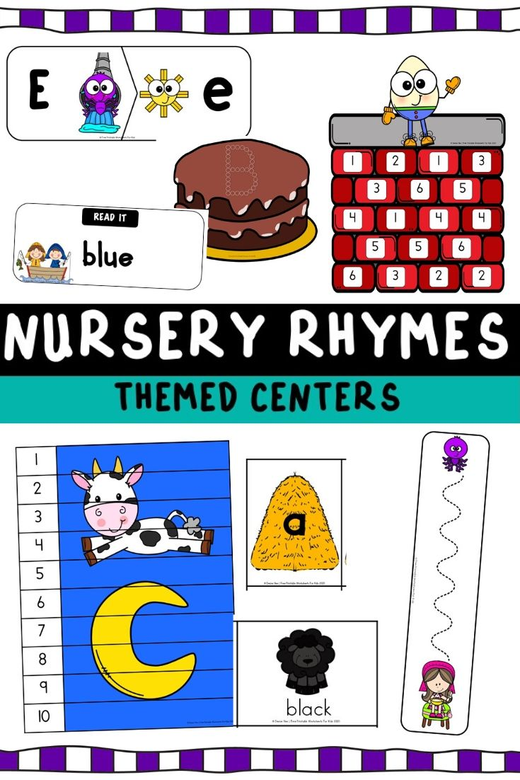 Nursery Rhymes Themed Literacy and Math Centers | Free Printable Worksheets For Kids | Pack of 10 literacy and math centers based on popular Nursery Rhymes. Kids will love learning the songs and then doing a hands-on activity based on it. Humpty Dumpty, Hey Diddle Diddle, Jack and Jill, Little Miss Muffet, Baa Baa Black Sheep, Incy Wincy Spider and more are included.