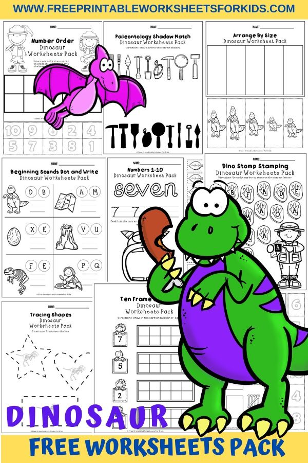 Fun Dinosaur Printables for Preschool and Kindergarten   Dinosaur Themed Games   Hands On Math and Literacy Homeschool Activities   Kids Classroom Center Ideas and Worksheets #FreePrintableWorksheetsForKids #Dinosaur #Worksheet #Pack