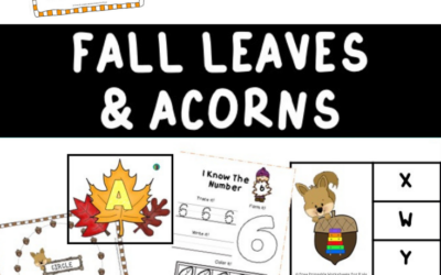 Fall Leaves and Acorns Themed Literacy and Math Centers
