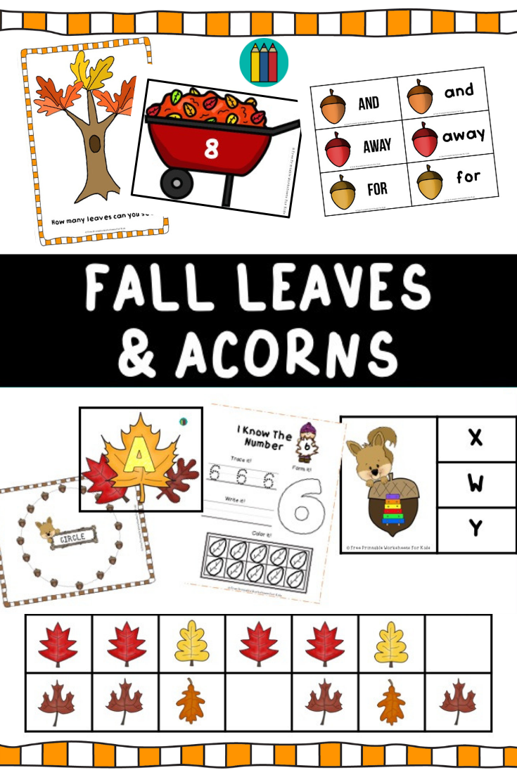Fall Leaves and Acorns Themed Literacy and Math Centers | Free Printable Worksheets For Kids | Falling leaves are so colorful and beautiful. Celebrate autumn changes with these 10 literacy and math centers that are perfect for preschool and kindergarten. Kids will surely fall in love with this magical season.