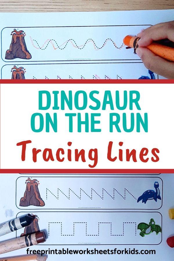 Fun Writing Printables for Preschool and Kindergarten   Dinosaur Themed Games   Hands On Homeschool Tracing Activities   Kids Classroom Center Ideas and Worksheets #FreePrintableWorksheetsForKids #Dinosaur #Tracing