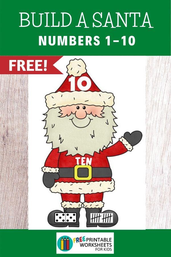 Fun Christmas Printables for Preschool and Kindergarten   Santa Themed Number Games   Hands On Math Homeschool Activities   Kids Classroom Center Ideas and Worksheets #FreePrintableWorksheetsForKids #Christmas #Santa #Number