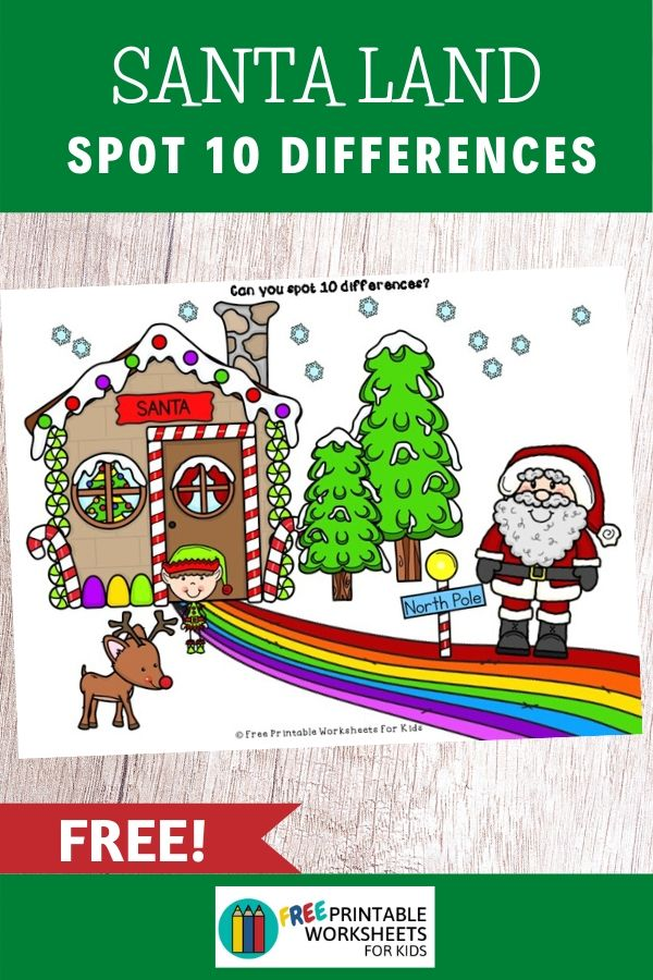 SantaLand Spot 10 Differences | Kool Kids Games | Need more time to wrap your Christmas presents? This game of visual discrimination will keep your kids busy for a while! Find the 10 differences between these 2 pictures of Santa Land.