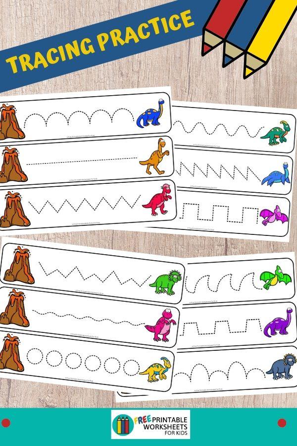 Fun Writing Printables for Preschool and Kindergarten | Dinosaur Themed Games | Hands On Homeschool Tracing Activities | Kids Classroom Center Ideas and Worksheets #FreePrintableWorksheetsForKids #Dinosaur #Tracing