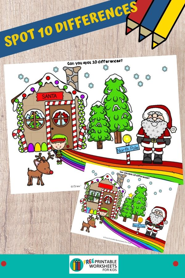 Fun Christmas Printables for Preschool and Kindergarten   Santa Themed Visual Games   Hands On Math Homeschool Activities   Kids Classroom Center Ideas and Worksheets #FreePrintableWorksheetsForKids #Christmas #Santa