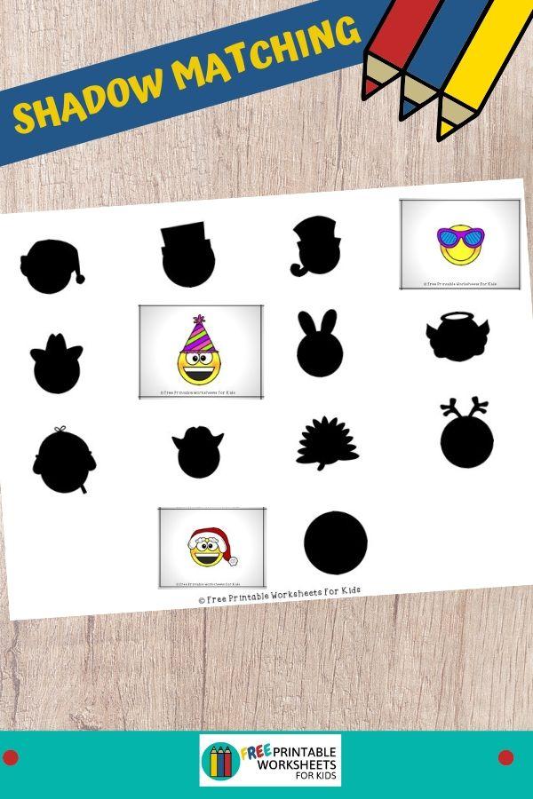 Fun Faces Printables for Preschool and Kindergarten | Emoji Themed Visual Discrimination Game | Hands On Homeschool Activities | Kids Classroom Center Ideas and Worksheets #FreePrintableWorksheetsForKids emoji #face #costume #shadowmatch