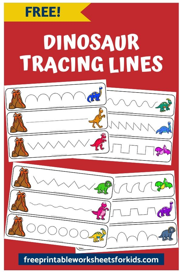 In this dinosaur tracing activity for developing fine motor skills, your preschooler will help the dinosaurs escape the volcano eruption. There are more than 10 different dinosaur line tracing patterns to choose from.