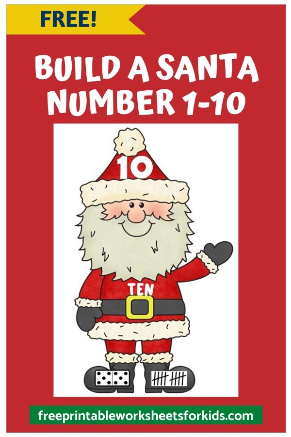 Build A Number Santa | Free Printable Worksheets For Kids | Preschool and kindergarten kids will match the number to the correct number word, tally mark and domino to form a Santa Claus in this fun printable Christmas activity.