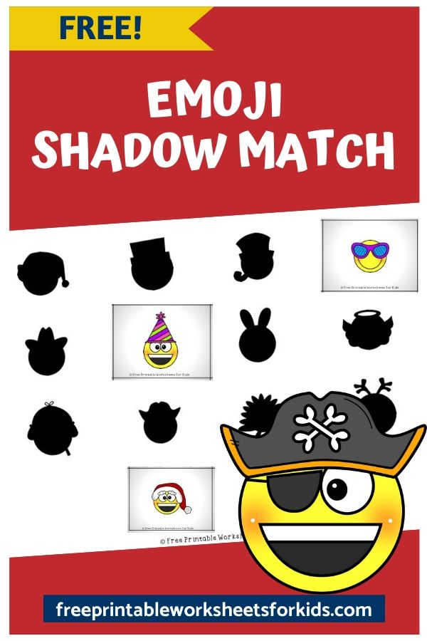 Emoji Dress Up Shadow Match | Free Printable Worksheets For Kids | This emoji shadow matching game develops an important early literacy and math skill called visual discrimination. Preschoolers need visual discrimination and matching skills so that they can differentiate between the letters and numbers as well as classify objects. It makes a great file folder activity for early finishers in class.