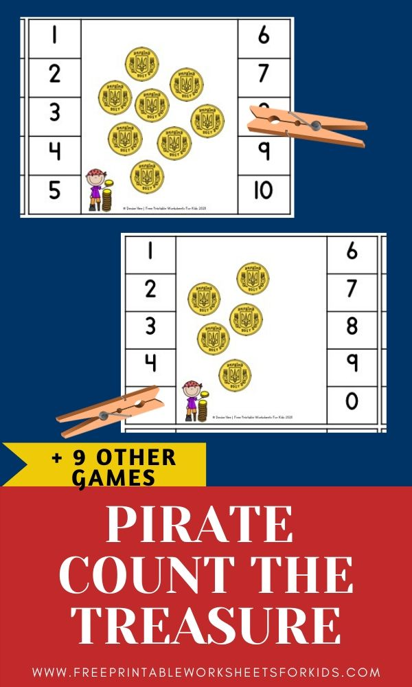 Fun Pirate Printables for Preschool and Kindergarten | Pirate Themed Games | Hands On Math Homeschool Activities | Kids Classroom Literacy Center Ideas and Worksheets #FreePrintableWorksheetsForKids #pirate #fantasy #dressup #skull #treasure #goldcoins