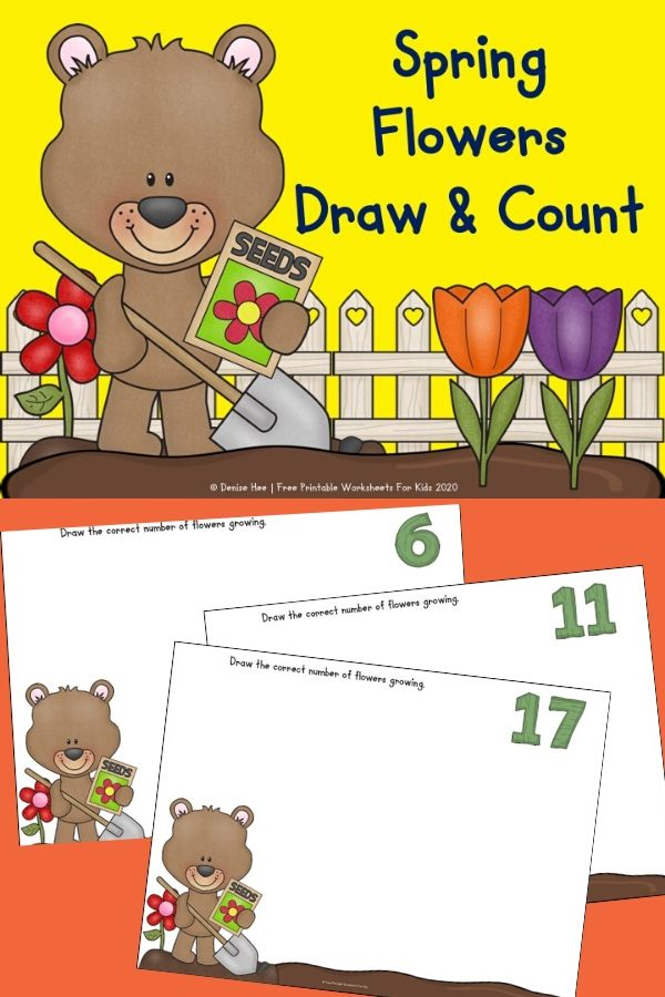 Spring Flowers Draw and Count | Free Printable Worksheets For Kids | Preschool and kindergarten kids will love this draw and count activity. April showers bring May flowers and this printable game is absolutely perfect for Spring!