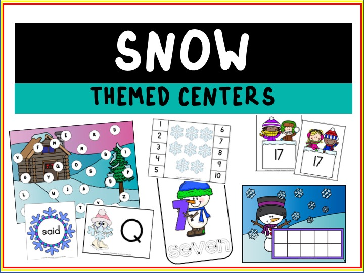 Snow Themed Literacy and Math Centers