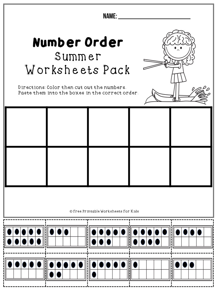 Summer Printable Worksheets Pack | Free Printable Worksheets For Kids | 50 free pages of summer-themed fun worksheets for preschoolers and kindergarteners to work on their literacy, math and fine motor skills. Keep your kids busy during the summer holidays.