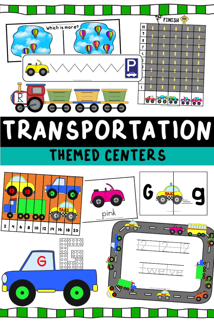 Transportation Themed Literacy and Math Centers | Free Printable Worksheets For Kids | Kids will be zooming around with excitement when they see these 10 vehicle-themed literacy and math activities. Transportation is always fascinating for preschoolers and kindergarteners. This fun pack will help develop handwriting, number recognition, beginning sounds and so many more skills.