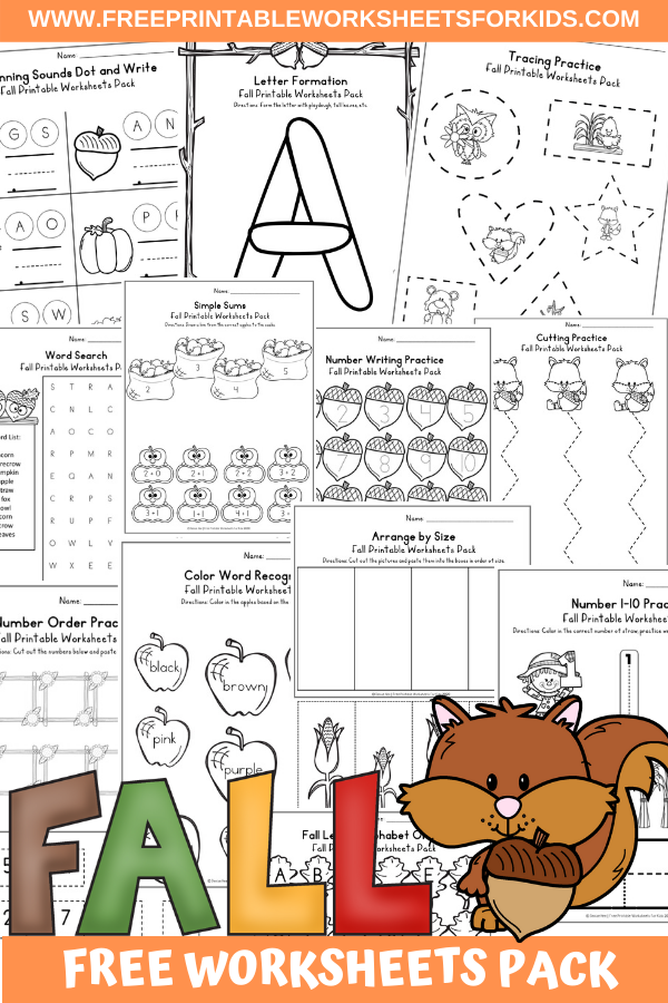 Fun Fall Printables for Preschool and Kindergarten | Autumn Themed Games | Hands On Math and Literacy Homeschool Activities | Kids Classroom Center Ideas and Worksheets #FreePrintableWorksheetsForKids #fall #autumn #worksheet