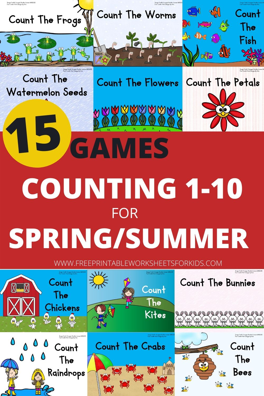 15 Sets of Counting Clipcards for Spring and Summer | Free Printable Worksheets For Kids | This collection of clip cards sets will help your child work on counting and developing fine motor muscle strength all throughout spring and summer.