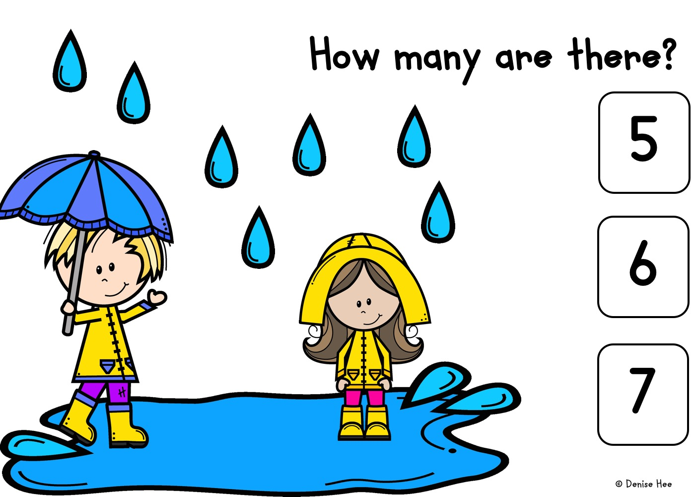 Count The Raindrops 1-10   Free Printable Worksheets For Kids   Count how many raindrops are forming those fun puddles in this spring-themed game. Kids will practice counting from 1 to 10 while strengthening fine motor muscles with this set of clipcards.