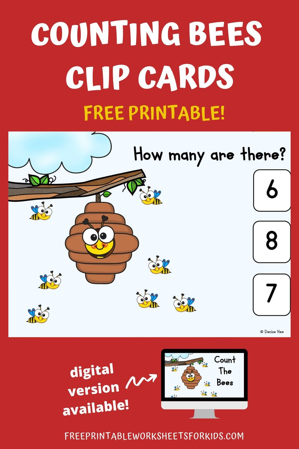 Count The Bees 1-10 | Free Printable Worksheets For Kids | Bee themed activities are always a hit at our house and this set of 1-10 counting clip cards is no exception!