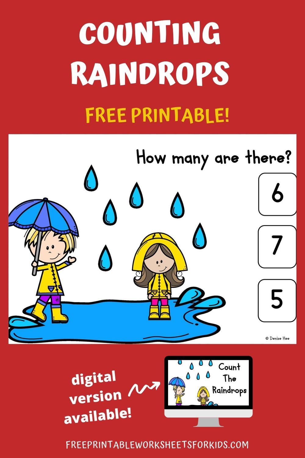 Count The Raindrops 1-10 | Free Printable Worksheets For Kids | Count how many raindrops are forming those fun puddles in this spring-themed game. Kids will practice counting from 1 to 10 while strengthening fine motor muscles with this set of clipcards.