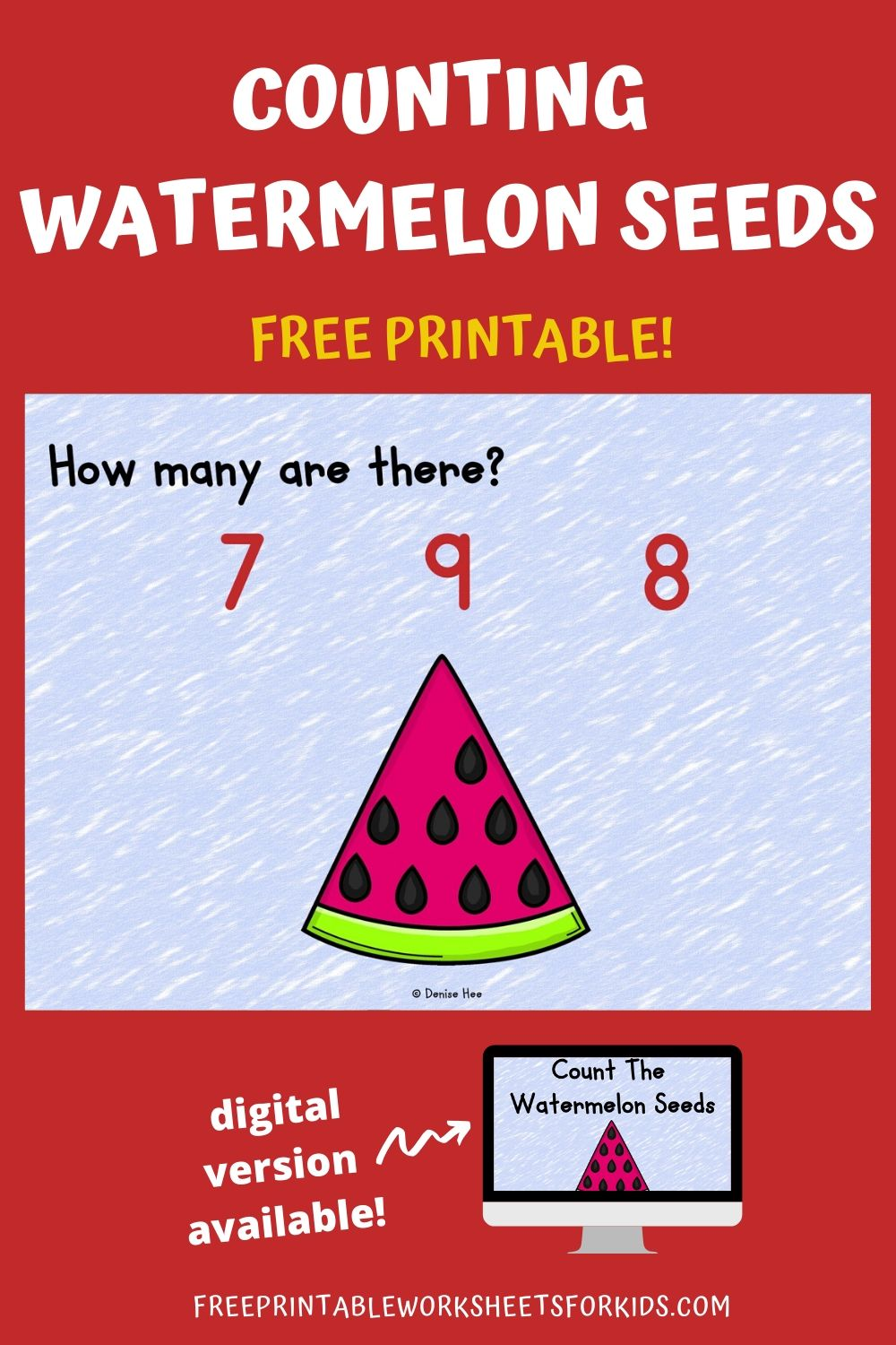 Count The Watermelon Seeds 1-10 | Free Printable Worksheets For Kids | This watermelon themed game is perfect for learning how to count to 10 this summer. Grab some wooden pegs and your kids will be ready for some refreshingly good fun! Other Printable Food-Themed Centers and Worksheets Fruit and Vegetable Activity Pack - 5 activities in this pack including shadow matching, bingo, etc. Watermelon Number Puzzles - Work on number recognition and subitizing in this summer-themed game. Farmers Market Activity Pack - helps kids learn about eating a rainbow of healthy foods. Counting Clip Cards Setup For this activity you will need: Paper Printer Wooden pegs or clothespins Optional: laminator If you don't have the materials needed, don't sweat! You can get it delivered to your doorstep really quickly with Amazon Prime. You can get a 30-day free trial here.  Playing This Fun Counting Game Print out the pages and cut them as needed into individual clip cards. I would suggest laminating them so you can use them again and again. Lay out the cards with some wooden pegs and that's it! Your kids are now ready for some fun math :) Additionally, you could provide some small tokens or counters that your student can use to help them count. They can place a counter over each worm to avoid counting them twice by mistake and to reinforce one to one correspondence. I have a large collection of Spring and Summer Counting Clip Cards. You can find more to complement this activity here. Pair Up This Summer Themed Math Activity Looking for more food themed printable math and literacy activities? Check out my pack of 10 Fruit and Vegetables Themed Centers here. Looking for more printable math and literacy activities for Summer? Check out my pack of 10 Ice Cream Themed Centers here. Looking for digital task cards? If you're using digital task cards in your classroom, you can find the Boom Cards version of this game in my Boom Learning shop (under Kool Kids Games) or in my Teachers Pay Teachers store.