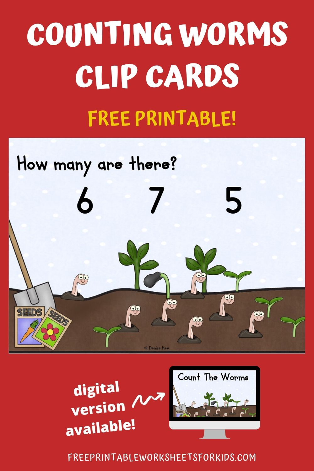 Count The Worms 1-10 | Free Printable Worksheets For Kids | Kids will love counting how many adorable wriggly worms are coming up from the ground. Practice early math skills while strengthening fine motor muscles with this set of clip cards that are perfect for Spring.