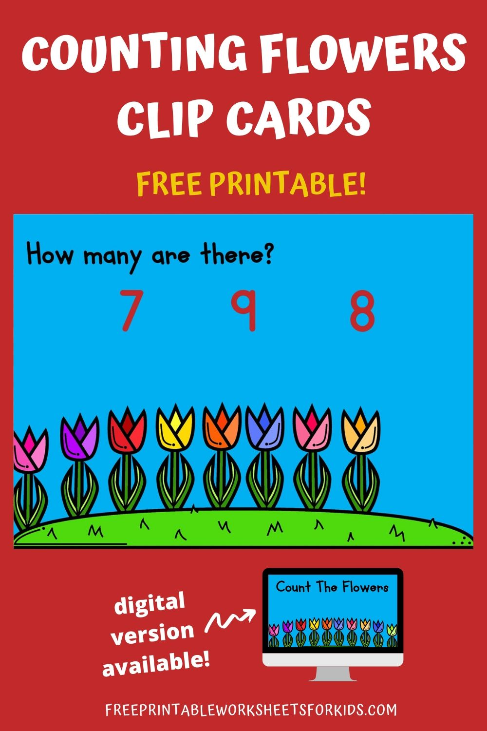 Count The Flowers 1-10 | Free Printable Worksheets For Kids | April showers bring May flowers! This colorful set of clip cards will help your child practice counting from 1-10 while working on developing fine motor strength.