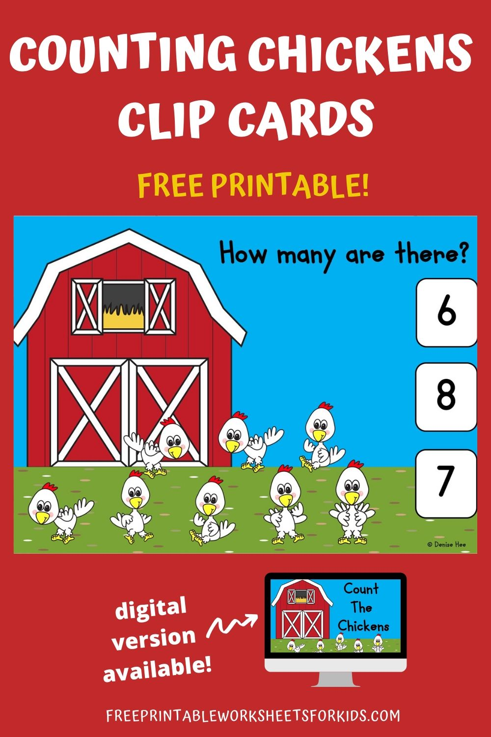 Count The Chickens 1-10 | Free Printable Worksheets For Kids | I grew up with chickens as pets and my son absolutely loves his field trips to the farm. He comes back all excited talking about all the animals he sees. We both share a love of animals so this set of chicken counting clip cards is one of his favorites. Other Printable Animal Centers and Worksheets Counting Colorful Bugs - Learn color words and counting in this fun book for beginner readers. Frog Life Cycle - 3 activities included in this pack perfect for Springtime. Frog Number Hop Game - Add and subtract as kids race to the pond. Bumblebee Addition Game - Solve the sum so the bee lands on the correct flower. Animal Alphabet Mazes - Work on letter recognition with these 26 mazes. Counting Clip Cards Setup For this activity you will need: Paper Printer Wooden pegs or clothespins Optional: laminator If you don't have the materials needed, don't sweat! You can get it delivered to your doorstep really quickly with Amazon Prime. You can get a 30-day free trial here.  Playing This Fun Counting Game Print out the pages and cut them as needed into individual clip cards. I would suggest laminating them so you can use them again and again. Lay out the cards with some wooden pegs and that's it! Your kids are now ready for some fun math :) Additionally, you could provide some small tokens or counters that your student can use to help them count. They can place a counter over each worm to avoid counting them twice by mistake and to reinforce one to one correspondence. I have a large collection of Spring and Summer Counting Clip Cards. You can find more to complement this activity here. Pair Up This Summer Themed Math Activity Looking for more printable math and literacy activities for your farm themed learning week? Check out my pack of 10 Farm Themed Centers here. Looking for digital task cards? If you're using digital task cards in your classroom, you can find the Boom Cards version of this game in my Boom Learning shop (under Kool Kids Games) or in my Teachers Pay Teachers store.